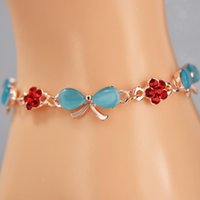 Charm Bracelets Blue Opal Bracelet Charms Rose Gold Plated Bangle Red Crystal Bowknot For Women Jewelry Woman Cuff