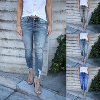Yoga Outfit Hole Ripped Jeans Women Pants Cool Denim Vintage Skinny Push Up High Waist Casual Ladies Slim Mom