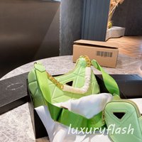 2 pcs 2021 designers luxurys hobo luz verde mulheres crossbody sacos de diamante de diamante cadeia de ouro de alta qualidade moda de couro bolsa de bolsa de ombro high-end