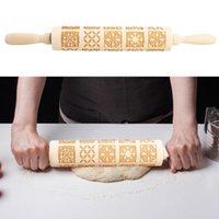 Cuisson en bois Pin de roulement en bois Embossage Biscuits Noodle Biscuit Dragh Motif rouleau pour la décoration de la cuisine domestique 43x5cm Pins Pâtisserie