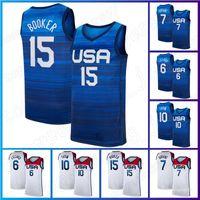 Devin 15 Booker Kevin 7 Durant كرة السلة جيرسي 6 داميان ليلارد جيرسي 10 جيسون تاتوم 9 23 مايكل 2020 فريق رجل وطني الولايات المتحدة الأمريكية أولمبياد الصيف