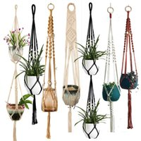 Macrame Plant Hanger Indoor Hanging Planter Basket with Wood Beads Decorative Flower Pot Holder No Tassels for Indoor Outdoor NHF10966