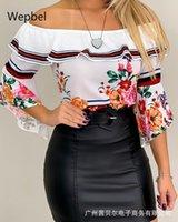 Women's T-Shirt Mandylandy Casual Slim Fit Tshirt White Off-Shoulder Ruffle Tops Women Summer Slash Collar Floral Printing Tshirts