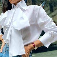 Celmia Femmes Bow Cravate Élégante Chemise 2021 Automne à manches longues Mode Blouses Vapel Casual Chemises Chemises plus Taille Taille Tops Blusas 5XL Femmes