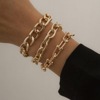 Charm Bracelets Fashion Gold Link Chain Set For Women Men Gothic Chunky Cuban Bangle On Hand Jewelry