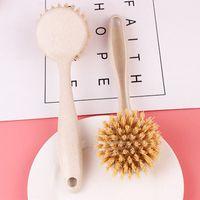 긴 손잡이 냄비 브러시 주방 팬 접시 그릇 세척 청소 도구 휴대용 밀 짚 가정용 청소 브러쉬