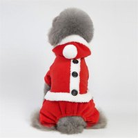 Dog Apparel Pet Christmas Santa Costume Clothes Cosplay Autumn Winter Warm Party Holiday Pug Chihuahua Wear Supplies