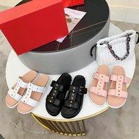 2021 Frauen Sandalen Slides Hausschuhe Sommer Frau Platformer Zwei Riemen Slipper Schuhe Sexy Damen Nieten Dicke Unterseite Sandale mit Box