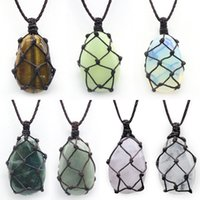 Woven Water Drop Net necklaces Reiki Healing Stone Crystal Natural Chakra Energy Pendant Necklace for women men