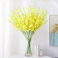 Flores decorativas grinaldas 5 garfo artificial para casamento decoração casa amarelo dançando vaso de orquídea phalaenopsis buquet seda natal