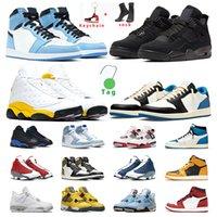basketball shoes 1s 4s 13s Red Flint Hiper Real gato balck Bred Parque esportes dos homens da sapatilha formadores Atlético tamanho 7-13