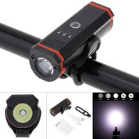 Headlamps SecurityIng Bike Headlights T6 LED USB Rechargeable 5 Mode Super Bright Battery Indicator Front Lights Built-in 18650 2200mAh