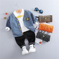 아기 소녀 소년 의류 어린이 스트라이프 코트 옷깃 T 셔츠 바지 유아 유아 아이 캐주얼 코트