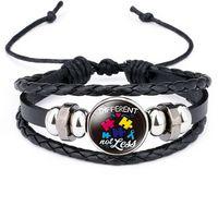 Cabochon en verre Autisme Bracelet Tissu Réglable MultiLouche Wrap Bracelets Charme Femmes Hommes Mode Bijoux volonté et Sandy