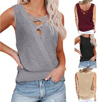 2021 Cross-Border European and American Spring Summer New Womens Tops Waffle Deep V-neck Backless Sexy Vest T-shirt Sweater
