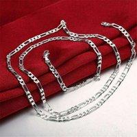 هدية عيد الميلاد 4MM الرجال قلادة 'الاسترليني الفضة مطلي قلادة الجملة أزياء 925 سلاسل فضية قلادة مصنع بيع مباشرة 81 T2