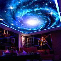 Özel 3d Fotoğraf Duvar Kağıdı Galaxy Yıldız Tavan Fresk Sanat Duvar Boyama Oturma Odası Yatak Odası Tavan Duvar Duvar Kağıdı De Parede 3D