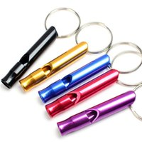 Multicolor Mini Aluminum Alloy Whistle Key chain For Outdoor Emergency Survival Safety keychains Sport Camping Hunting