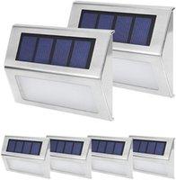 6 LED Solar Deck Lâmpadas Ao Ar Livre Lighting Step Lights Branco Auto On / Off Aço Inoxidável Para Fence Pátio Garden Caminho à prova de intempéries