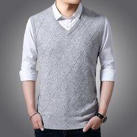 남자 스웨터 가을 니트 민소매 양모 조끼 비즈니스 캐주얼 V 넥 자카드 스웨터 남성 브랜드 의류 IWN2