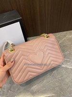 Moda Marmobag 31cm Love Heart Wave Pattern Pattern Satchel Borsa a tracolla Borsa a catena Borse a croce Borsa Lady in pelle Classic Style Borse Borse Quattro dimensioni Complete