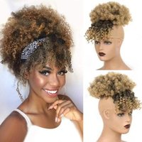 Pelucas sintéticas Afro Puff Pein Bun Ponytail Drawstring con flequillo Corta Kinky Curly Pineapple Pony Tail Clip In On Wrap Updo