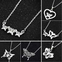 Pendant Necklaces Silver Color Butterfly Necklace INS Simple Clavicle Chain Temperament High Quality Stainless Steel Jewelry Female