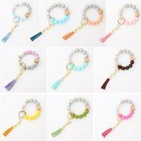 Favoris Porte-clés Tassel en bois Chaîne de cordes de grade de nourriture Grade Péle en silicone Femme Fille Clé Bracelet Bracelet Bracelet