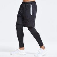 Deuxième Pièce Compression Leggings Pantalons Gym Training Fitness Collants Short + Leggings Pantalons Hommes Gym Gym Running Pantalon Hommes