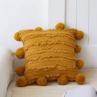 Vit blommig tofsar kuddehölje med pompom gul grå dekorativ kuddehölje Heminredning Kasta örngott 45x45cm 387 R2