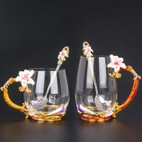 Tasse de verre à cristaux vintage, tasse d'émail résistant à la chaleur, tasse à thé de fleurs Tasse à café, lait eau potable pour tasses-cadeaux