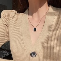 Chains Personality Design Necklace Ins Cold Wind Cube Dripping Oil Accessories Female Trend Pendant All-match Fashion Women