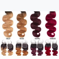 Pre-colored Raw Indian Hair 3 Bundles with Closure 1b 27 Ombre T1B 99J Body Wave Human Hair Weaves Bundles with Closure T1B 30 T1B BUG