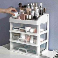 Maquillage organisateur tiroirs en plastique cosmétique boîte de rangement bijoux conteneur boîtier porte-brosse tire tiroir vernis à vernis rack de bureau grand