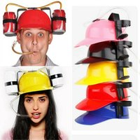 파티 모자 음료 헬멧 장난감 소품 생일 모자 맥주 맥주 듀얼 홀더 모자와 소프트 짚 바 재미있는 독특한 게임