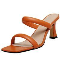 Muhtasar açık parmaklı kadın sandalet Slingbacks terlik hakiki deri yüksek topuklu pompalar 2021 moda düğün balo ayakkabı kadın