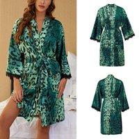 Women's Sleepwear 2021 Summer Silk Robe Womens Kimono Cardigan Cover Up Lace Printed Satin Silky Nightgown Bathrobe