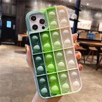 다채로운 팝 fidget 푸시 거품 장난감 휴대 전화 쉘 애플에 적용 * 컬러 박스와 스트레스 릴리버 감각 실리콘 전화 케이스 LLA696