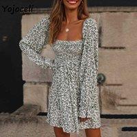 Yojoceli square neck shirred dress floral print long sleeve smock boho beach mini 210609