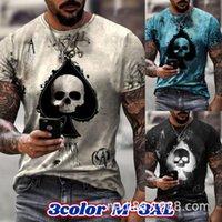 Men's T-Shirts 2021 European American Fashion Men T-shirt Ace Skull 3d Printing Hip Hop Harajuku Tshirts Male Summer Tees Tops Streetwears