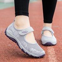 Mamãe sandálias verão plano antiderrapante fundo macio confortável de meia idade e idosos sapatos avó sapatos para os antigos sandálias de malha fêmea