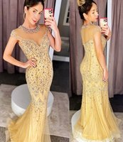2021 Plus Size Arabic Aso Ebi Gold Luxurious Mermaid Prom Dresses Beaded Crystals Sheer Neck Evening Formal Party Second Reception Gowns Dress ZJ225