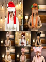 DHL Christmas Halloween Cute bunny hat with moving ears Plush Toys Holiday gifts toy Party Prom Props surprise wholesale In Stock