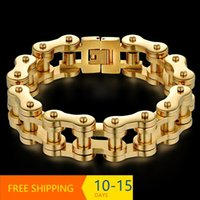 Mens Bracelets 2021 Stainless Steel Biker Bicycle Motorcycle Link Chain Male Bracelet Wholesale Braclets Gold Drop Link,
