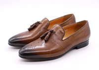 Men's Tassel Loafers Calf Genuine Leather Wedding Party Men Casual Dress Shoes Fashion Gentleman Stree Style Men Shoes