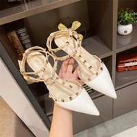 Luxury Dress Shoes Pointed Rivet High s 2021 Summer Nude t Strap Middle Single Sho Thin Heel Liuding Sandal's