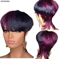 Ombre 하이라이트 장미 보라색 컬러 레미 인간의 머리 가발 Pixie Short Cut Bob Brazilian Straight No Lace Front Wig