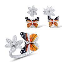 Earrings & Necklace Trendy Female Zircon Flower Jewelry Set Charm Silver Color Wedding Stud For Women Cute Enamel Butterfly Engagement Ring
