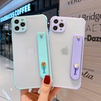 High quality Matte Transparent Cell Phone Cases For IPhone 12 11 pro max X XR with wristband ring holder drop-proof two-in-one PC TPU Frame mobilephone case