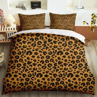 Estilo americano personalizado Rei Rei Único 3D Impressão Leopardo Padrão de Leite Conjunto de Beding Frolvícula Soft Dubet Cobertura Meninas Quarto Decoração Decoração conjuntos de cama